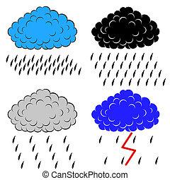précipitation, vecteur, nuages, illustration
