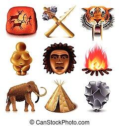 préhistorique, gens, icônes, vecteur, ensemble