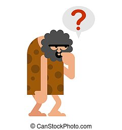 préhistorique, isolated., homme cavernes, pense, expect., ancien, penser, homme