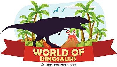 préhistorique, jurassique, period., affiche, dinosaurs., t-rex., mondiale, world.
