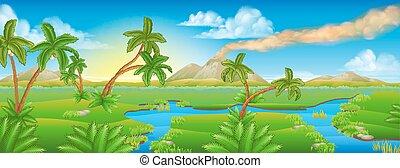 préhistorique, paysage, scène, dessin animé, fond