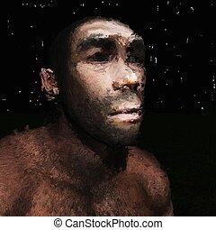 préhistorique, peinture, homme, numérique
