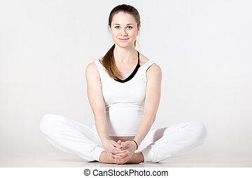 prénatal, yoga, pose papillon