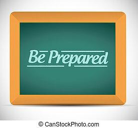 préparé, être, message, écrit, blackboard.