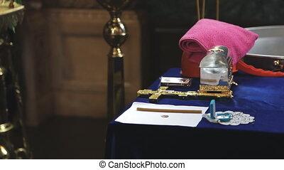 préparé, baptism., objets, église, table, rite