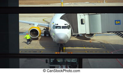 préparation, avion, vol, avant