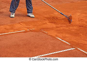 préparation, court tennis