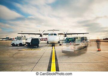 préparation, de, les, avion