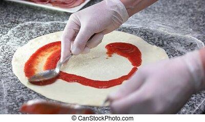 préparation, fin, croûte pizza, haut.