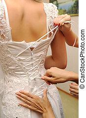 préparation, mariée, robe, mariage