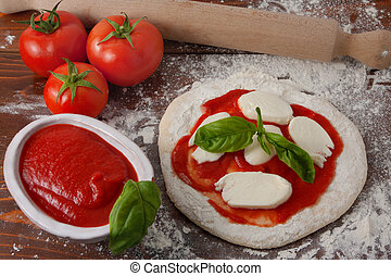 préparation, pizza
