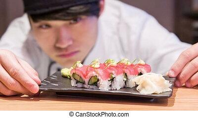 préparation, sushi