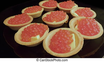 préparation, tartlets., mettre, sommet rouge, caviar,...