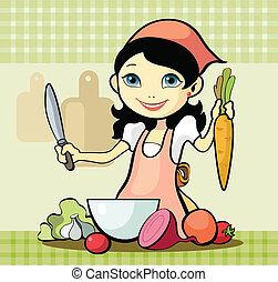 prépare, girl, repas