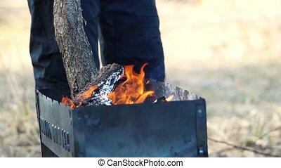 prépare, gril, homme, barbecue