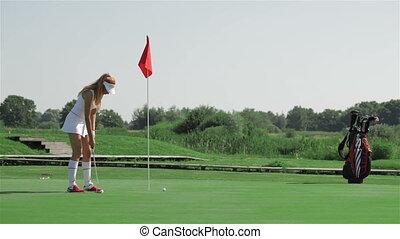prépare, mettre, femme, golf