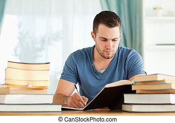 préparer, étudiant, examen