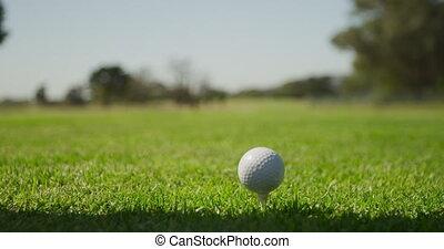 préparer, balle, fermé, tee golf, sien, club, joueur