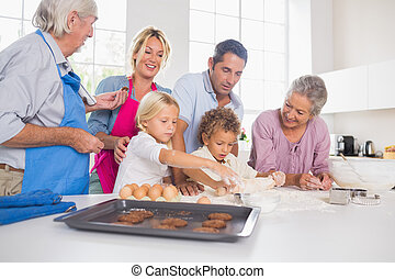 préparer, ensemble, famille, biscuits