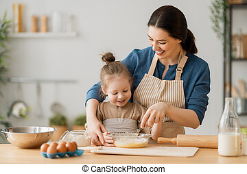 préparer, famille, boulangerie, ensemble
