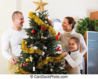 préparer, famille, noël heureux