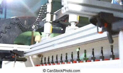préparer, forets, trous, long, contre-plaqué, automatisé, ...