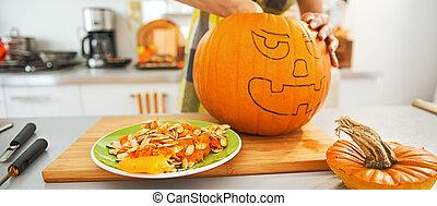 préparer, halloween, femme foyer, closeup, orange, fête, citrouille
