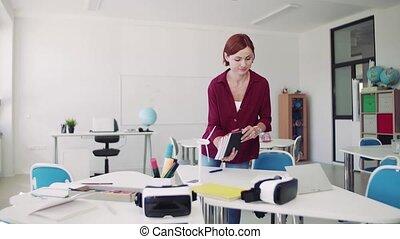 préparer, marche, classe, autour de, prof, lesson., bureaux