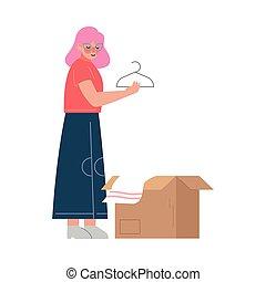 préparer, nouveau, en mouvement, girl, femme, elle, affaires...