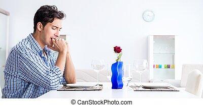 préparer, sien, homme, amoureux, seul, date, romantique