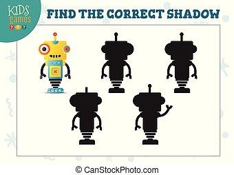 préscolaire, correct, robot, pédagogique, ombre, mini, ...