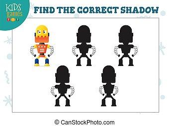 préscolaire, robot, pédagogique, ombre, mini, mignon, jeu, ...