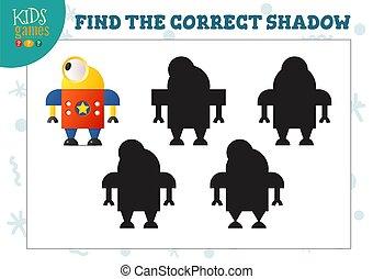 préscolaire, robot, pédagogique, ombre, mini, mignon, jeu, trouver, dessin animé, gosses, correct
