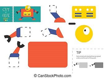préscolaire, vecteur, couper papier, worksheet, pédagogique, colle, gosses, toy.