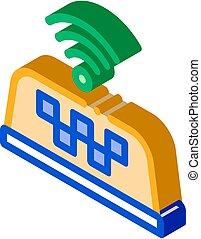 présence, vecteur, isométrique, icône, wi-fi, taxi, ...