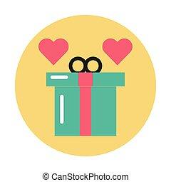 présent, boîte, cadeau, cœurs, amour