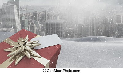 présent noël, neige, tomber