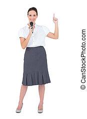 présentateur, sourire, séduisant, tenue, microphone