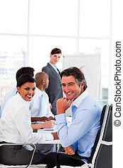 présentation affaires, à, a, réunion