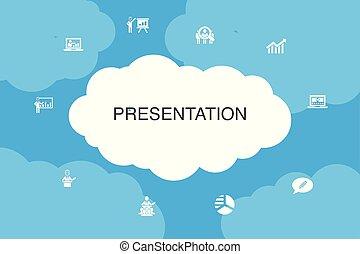 présentation affaires, conception, icônes, infographic, diagramme, nuage, présentation, topic, template., conférencier