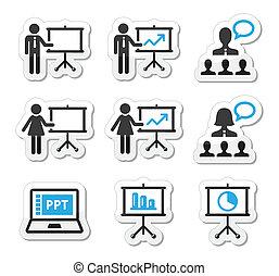 présentation affaires, conférence, icône