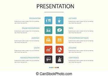 présentation affaires, option, icônes, infographic, diagramme, concept., 10, présentation, topic, conférencier