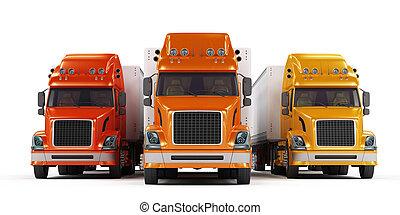 présentation, blanc, quelques-uns, isolé, camions