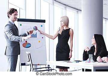 présentation, bureau affaires
