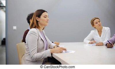 présentation, bureau, equipe affaires