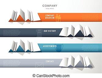 présentation, compagnie, raies, icons., quatre, infographic, conception, papier, gabarit