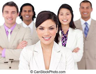 présentation, de, a, compétitif, equipe affaires