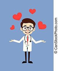 présentation, docteur, cœurs, -, professionnel