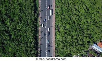 présentation, en mouvement, autoroute, voitures, route