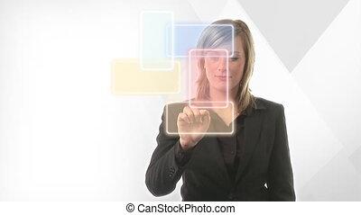 présentation, femme affaires
